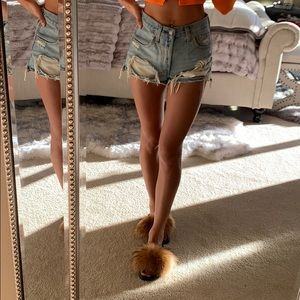 Levi's distressed high rise jean shorts